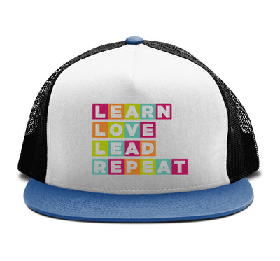 Learn Love Lead Blue and Black Trucker Hat