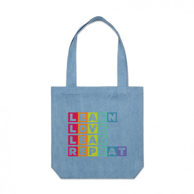 Learn Love Lead Demin Tote Front