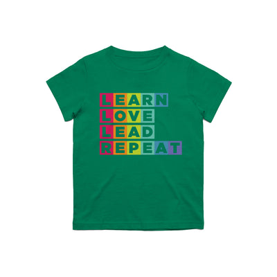 Learn Love Lead Green Kids Tee Front