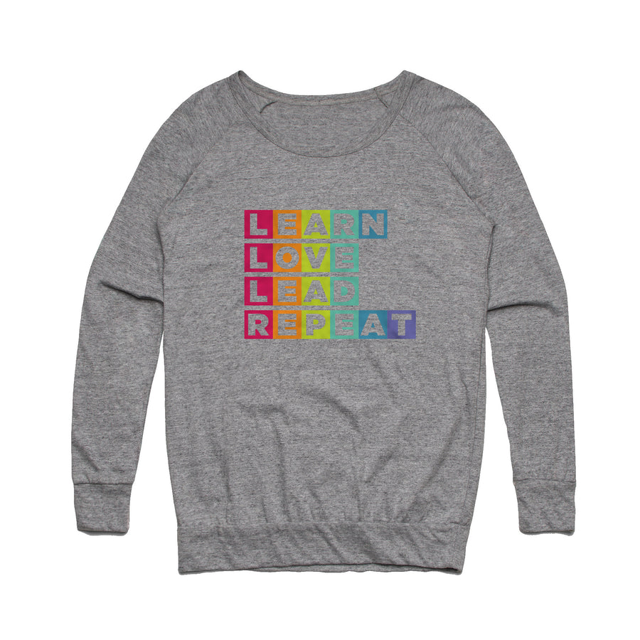 Learn Love Lead Grey Slouch Sweater Front