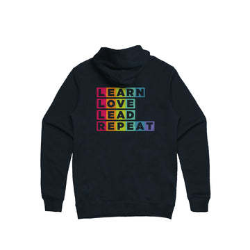 Learn Love Lead Navy Zip Hoodie Back