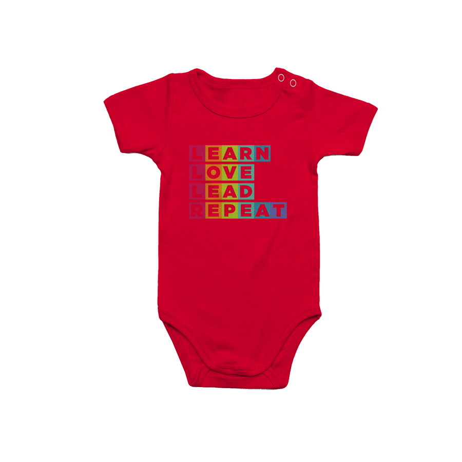 Learn Love Lead Red Onesie Front