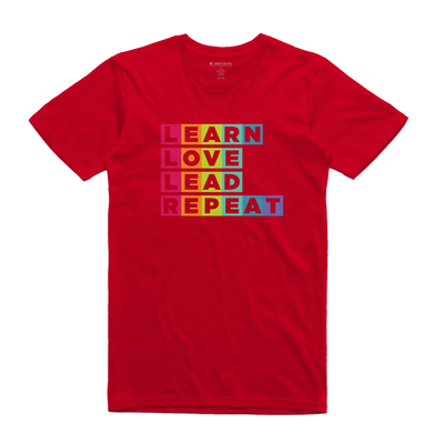 Learn Love Lead Red Unisex Tee Front