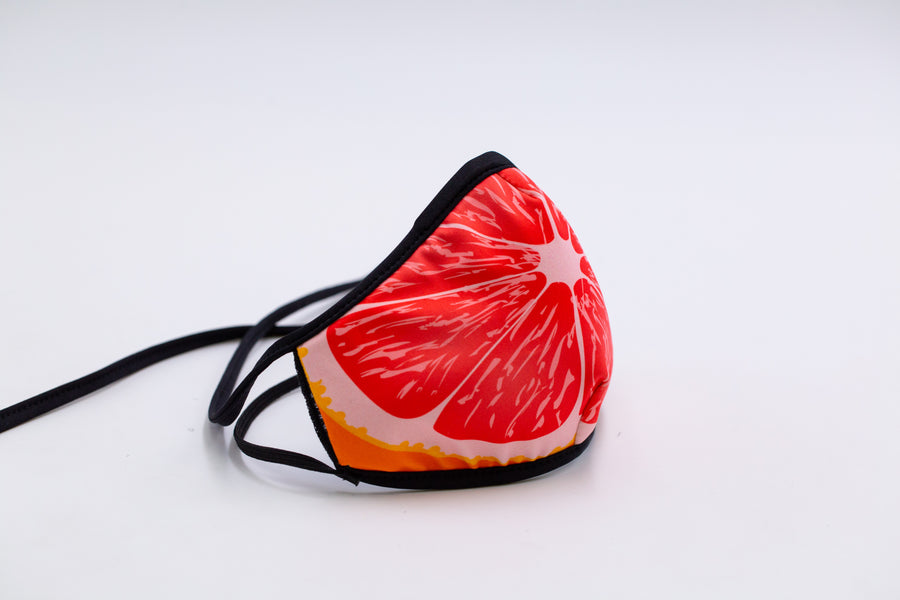 Grapefruit- Arena Tour Mask (Includes 1 PM2.5 Carbon Filter) Reversible Face Mask