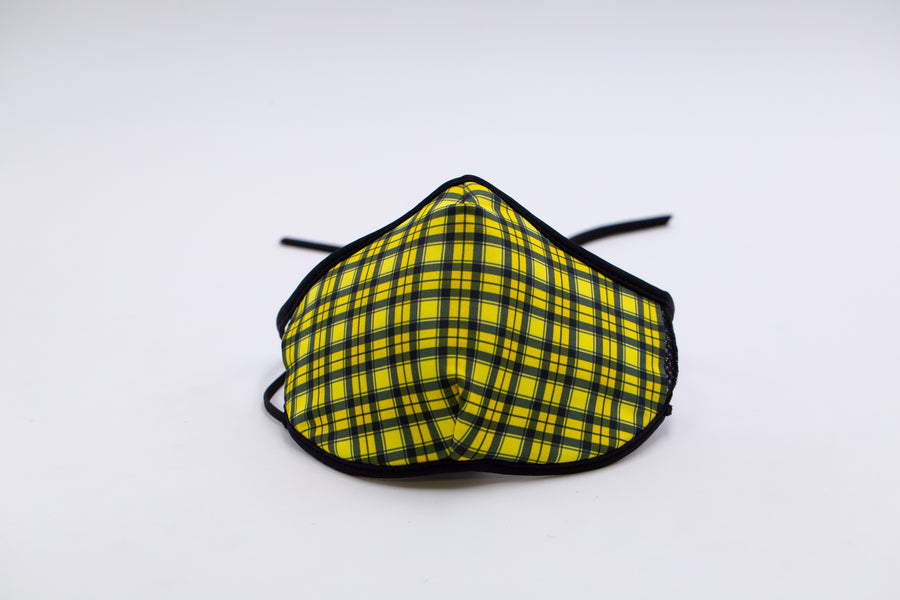 Yellow Plaid- Arena Tour Mask (Includes 1 PM2.5 Carbon Filter) Reversible Face Mask