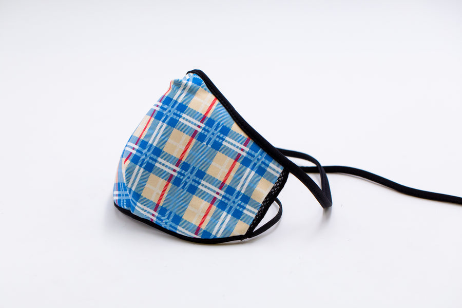 Blue Madras - Reusable Face Mask, Face Cover, Festival Cover | Arena