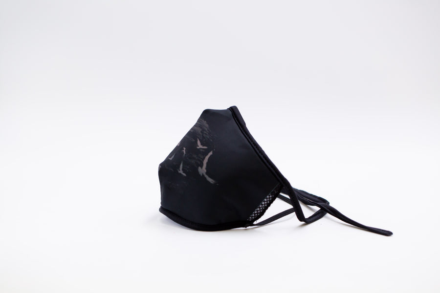Raven- Arena Tour Mask (Includes 1 PM2.5 Carbon Filter) Reversible Face Mask
