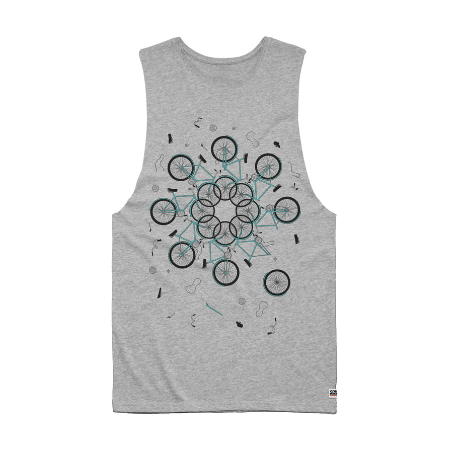 Neon Indian Suns Irrupt Heather Grey Men's Sleeveless Tee Shirt