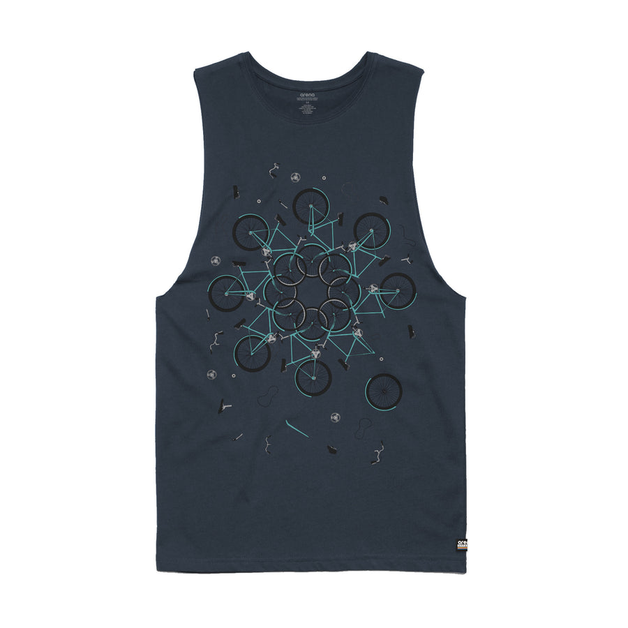 Neon Indian Suns Irrupt Navy Men's Sleeveless Tee Shirt