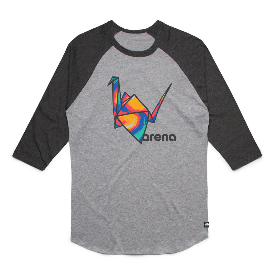 Paper Crane Raglan Heather Grey and Asphalt Heather