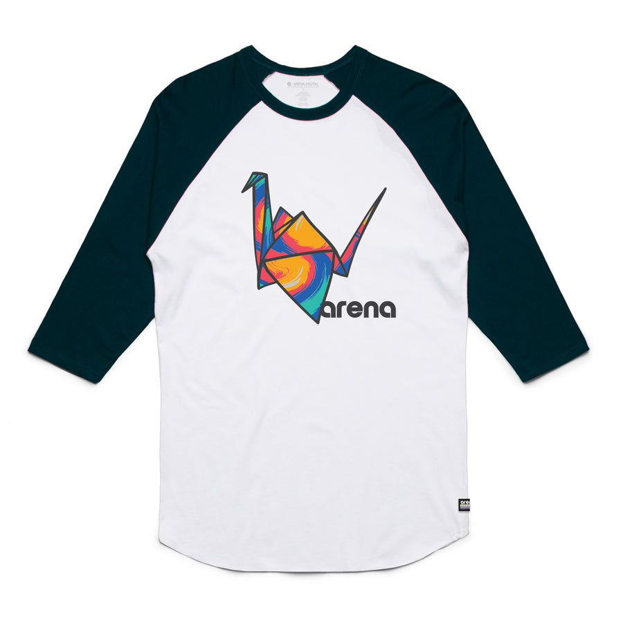 Paper Crane Raglan White and Navy