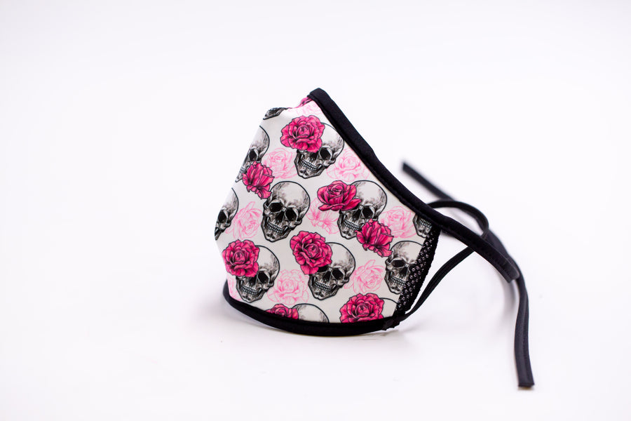 Pink Skulls- Arena Tour Mask (Includes 1 PM2.5 Carbon Filter) Reversible Face Mask