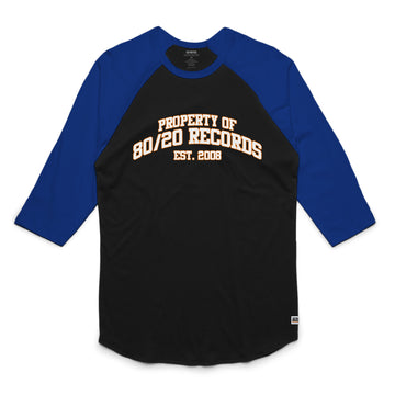 80/20 Records - Unisex Raglan Tee Shirt - Band Merch and On-Demand Designer Shirts