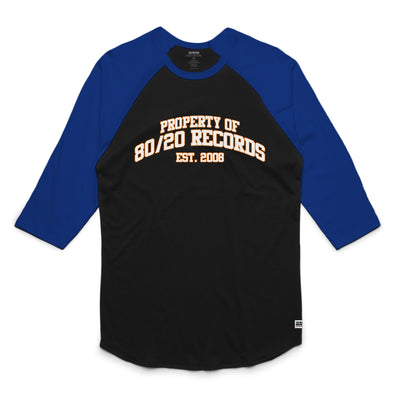 80/20 Records Raglan Tee Shirt Black and Blue