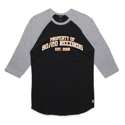 80/20 Records Raglan Tee Shirt Black and Grey