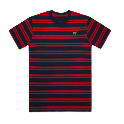 Red and Navy G.O.A.T. Striped Tee Shirt