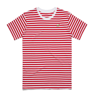 Red and White Striped GOAT Unisex Tee Shirt