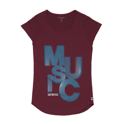 Reverb Women's Burgundy Curved Hem Tee Shirt