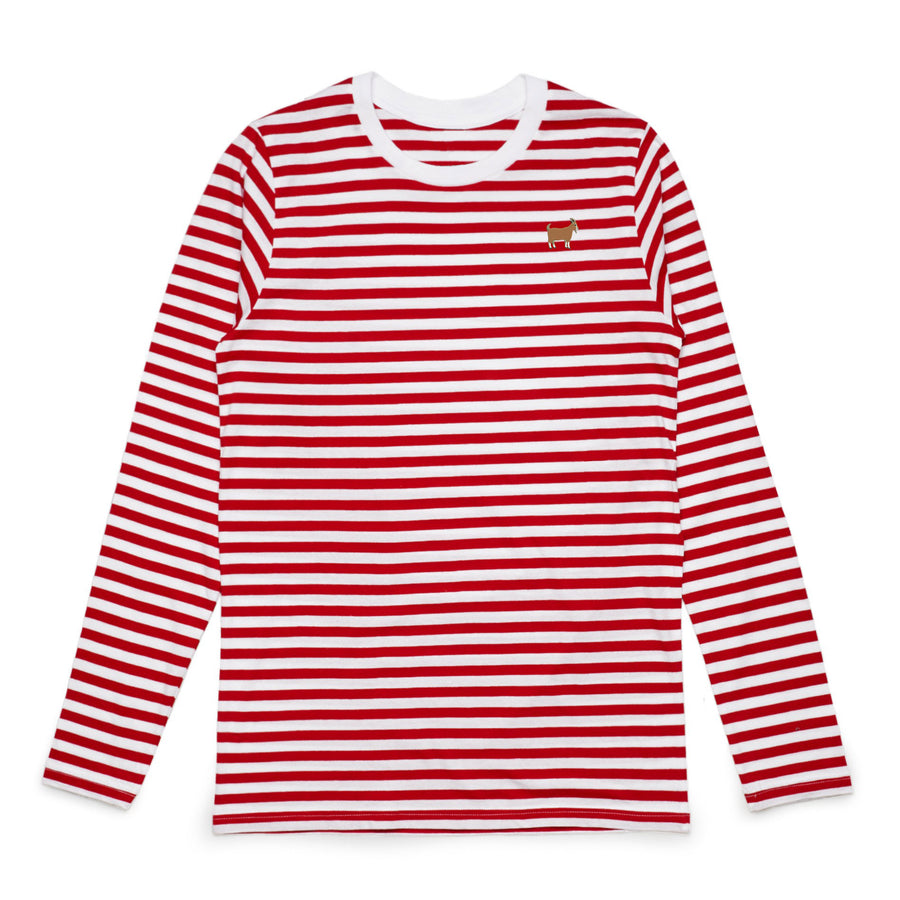 Red and White Striped GOAT Longsleeve Shirt