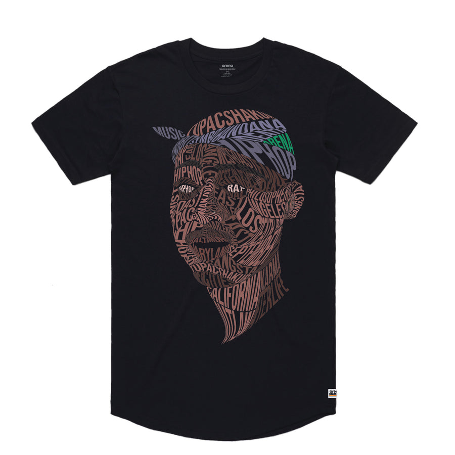 Tupac - Men's Curved Hem Tee Shirt - Band Merch and On-Demand Designer Shirts