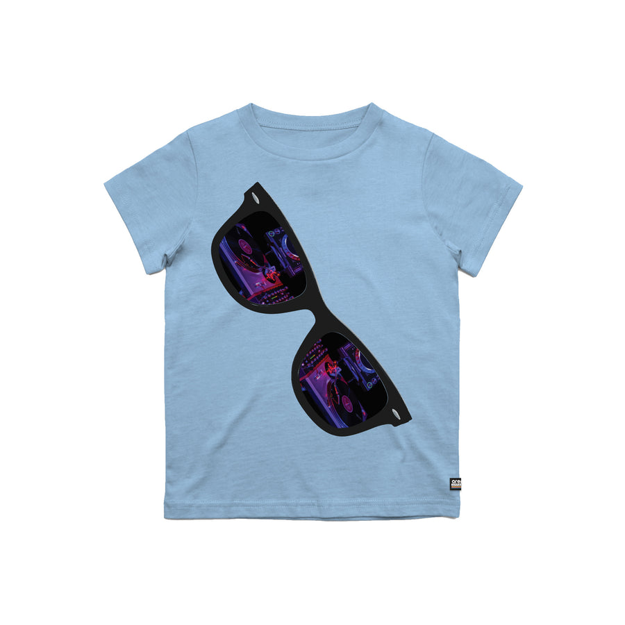 Turntables Reflection Light Blue Youth Tee Shirt