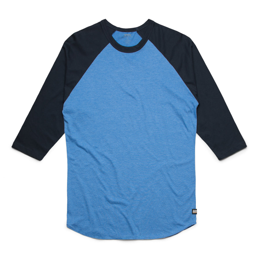 Unisex Artic Blue and Navy Raglan Tee Shirt