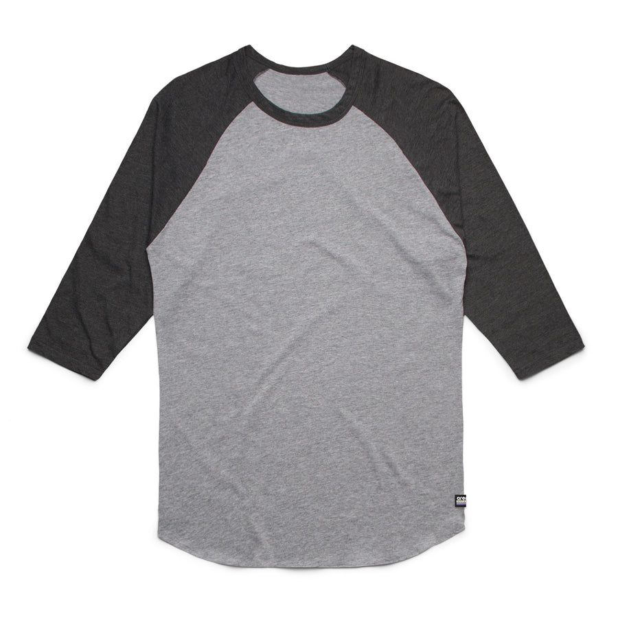 Unisex Heather Grey and Asphalt Heather Raglan Tee Shirt
