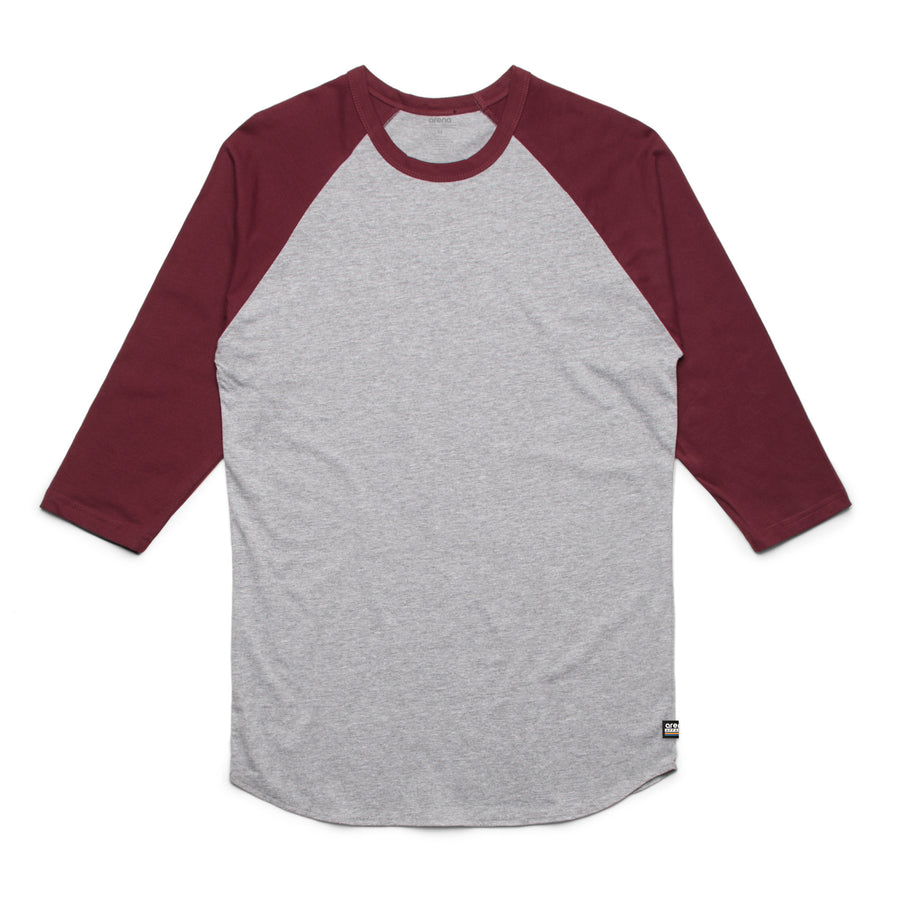 Unisex Heather Grey and Burgundy Raglan Tee Shirt