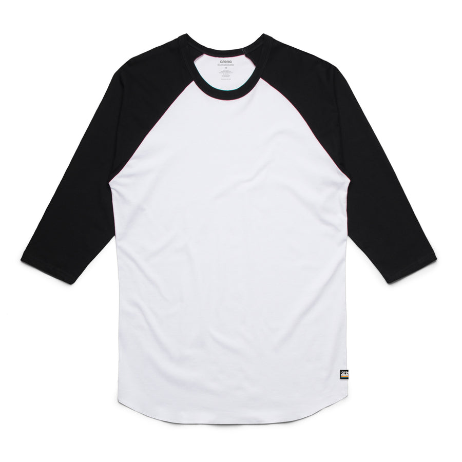 Unisex White and Black Raglan Tee Shirt