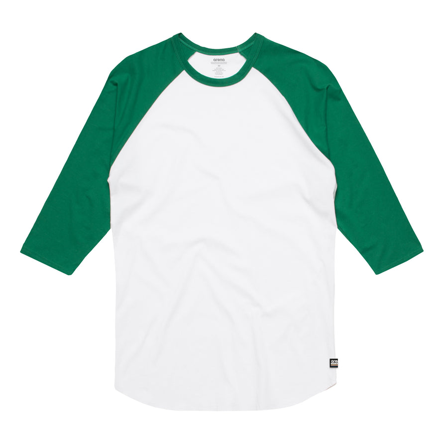 Unisex White and Green Raglan Tee Shirt