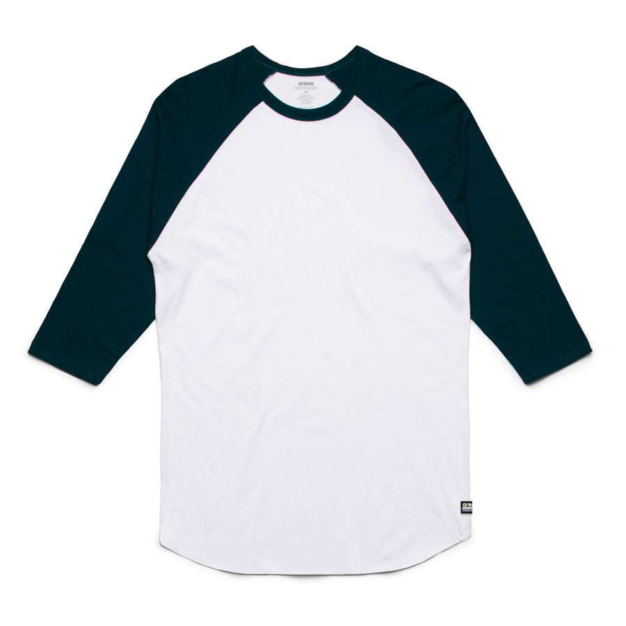 Unisex White and Navy Raglan Tee Shirt