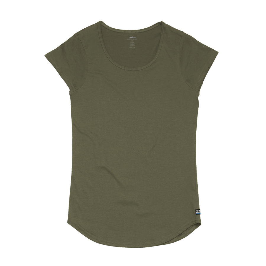 Women's Army Curved Hem Tee Shirt