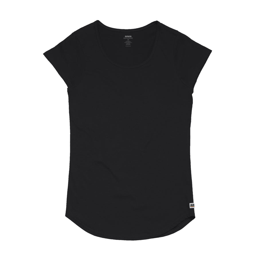Women's Black Curved Hem Tee Shirt