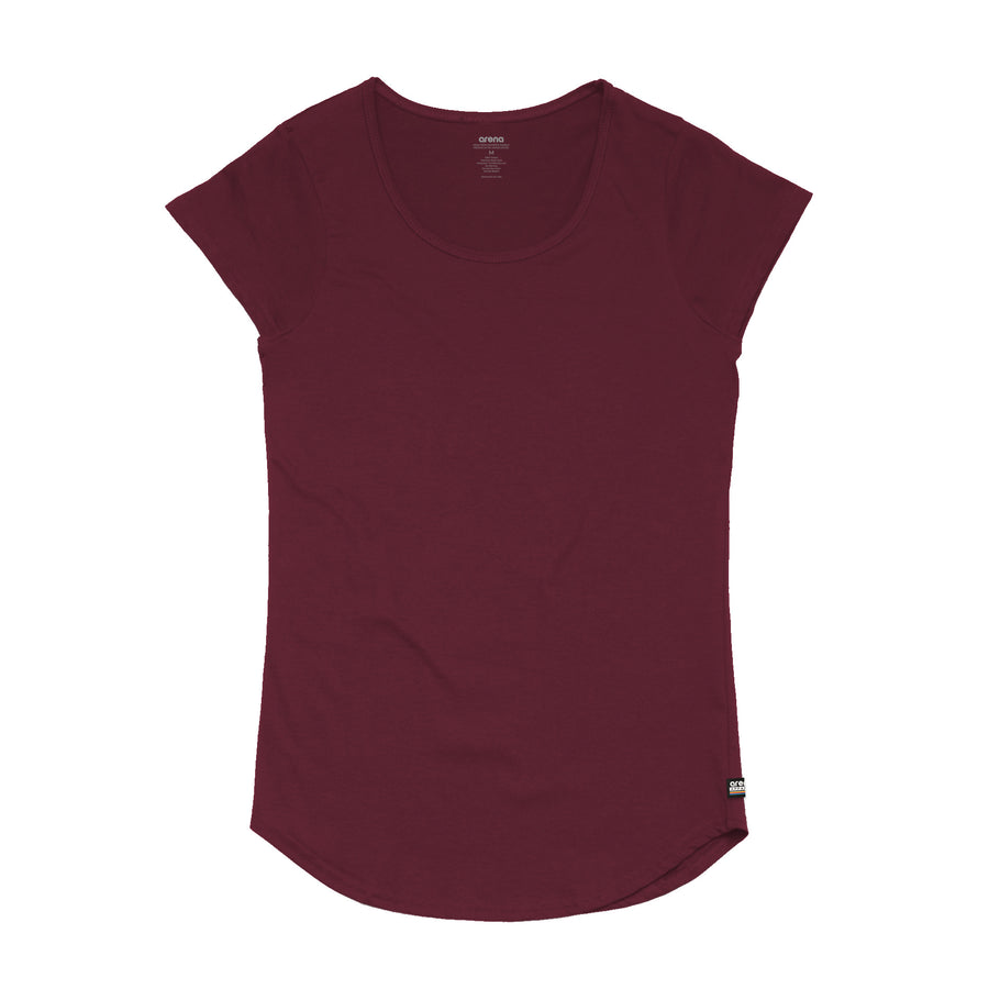 Women's Burgundy Curved Hem Tee Shirt