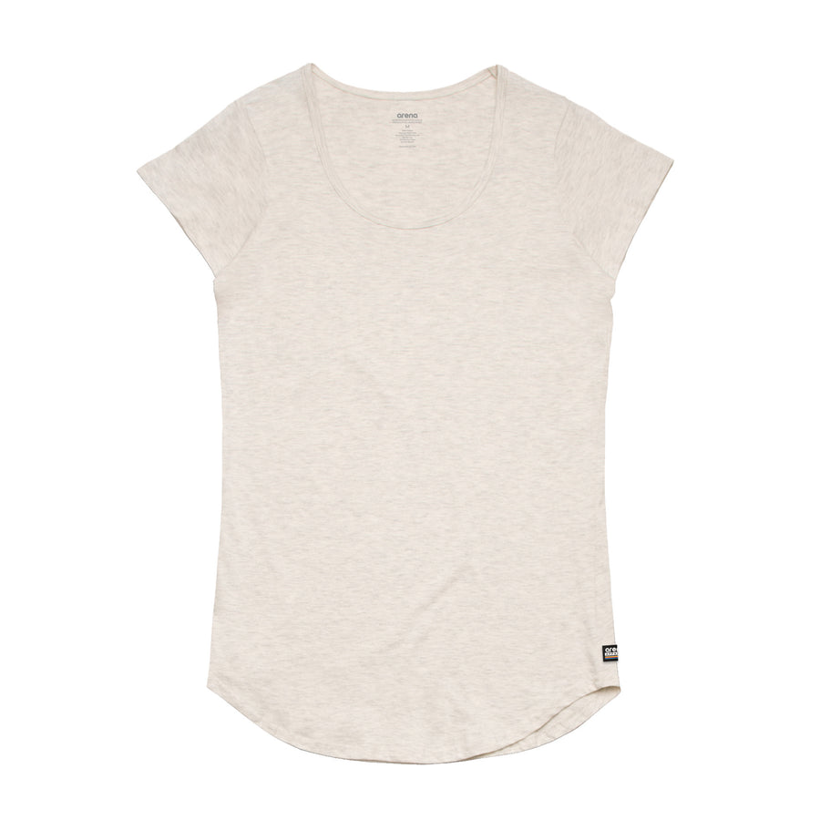 Women's Oatmeal Curved Hem Tee Shirt