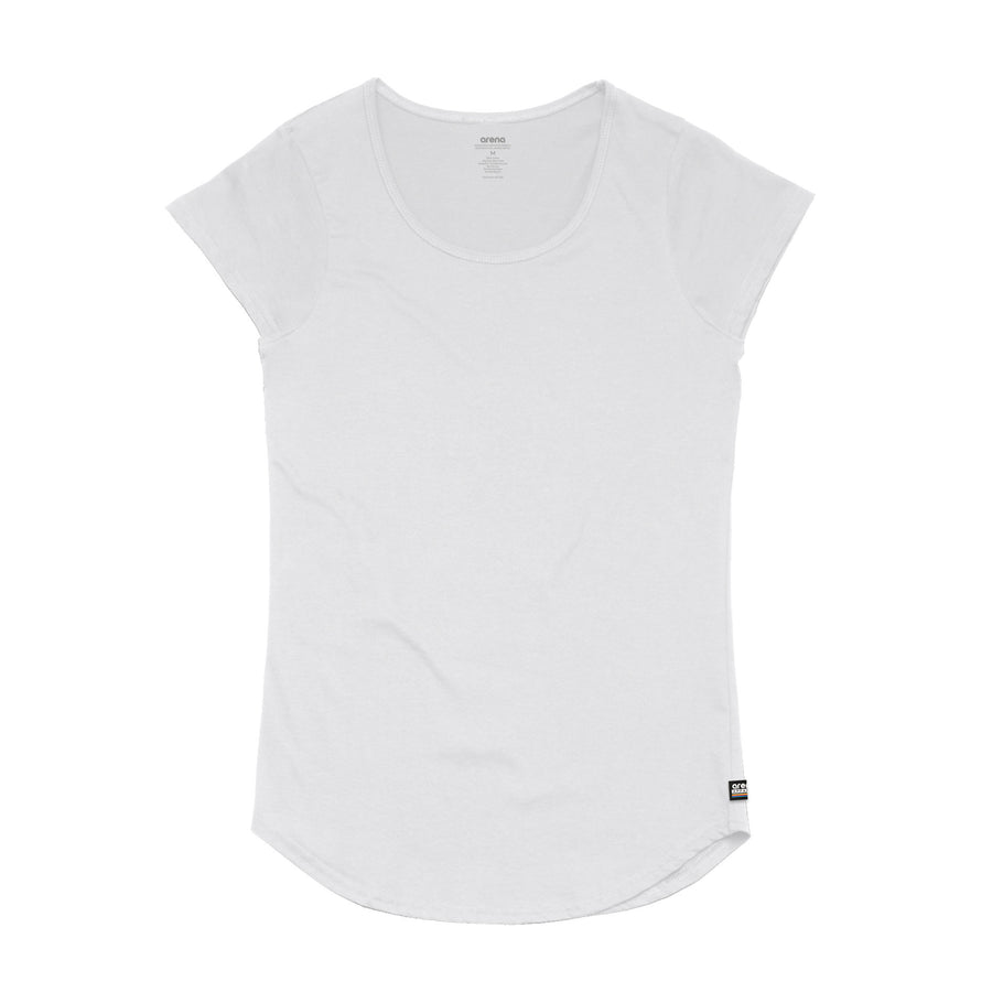 Women's White Curved Hem Tee Shirt