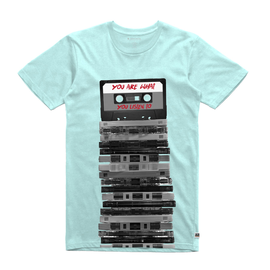 You Are What You Listen To Cassette Tapes Aqua Unisex Tee Shirt