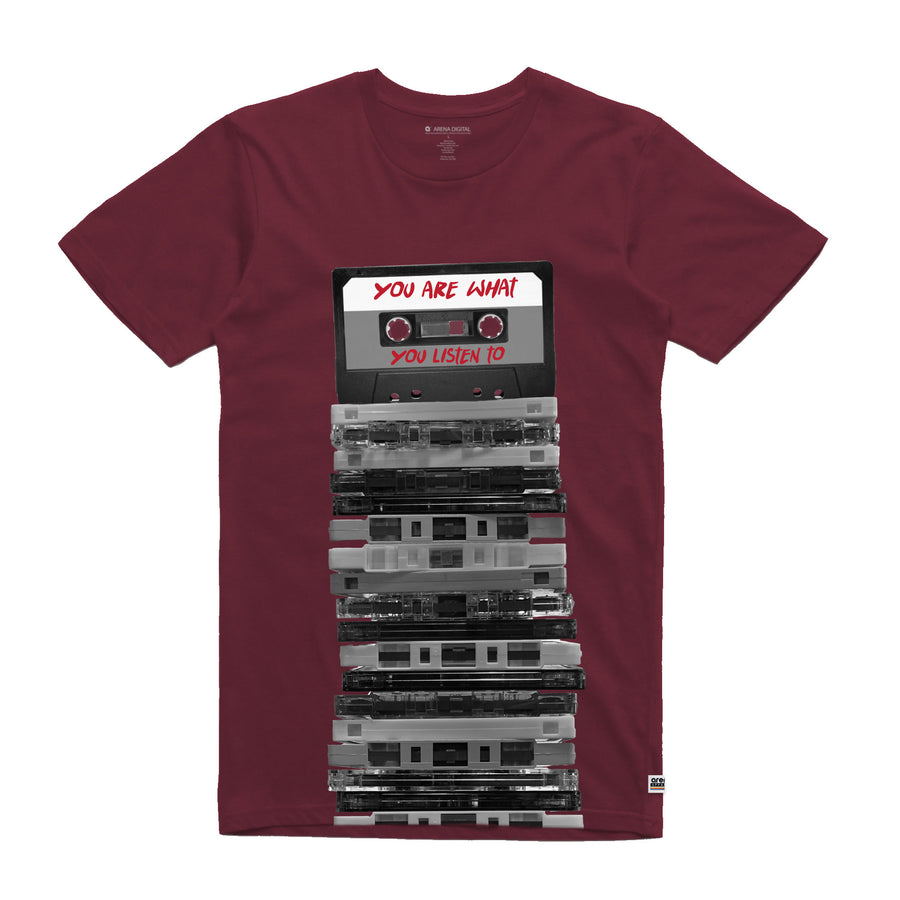 You Are What You Listen To Cassette Tapes Burgundy Unisex Tee Shirt