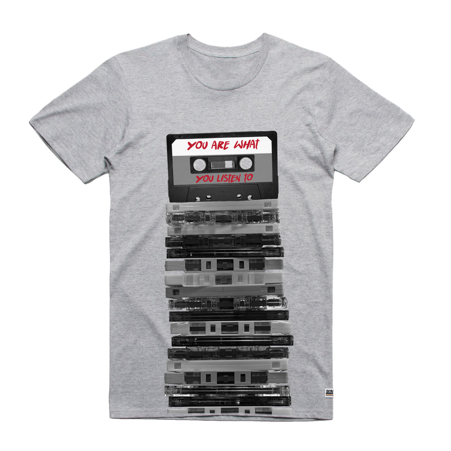 You Are What You Listen To Cassette Tapes Heather Grey Unisex Tee Shirt