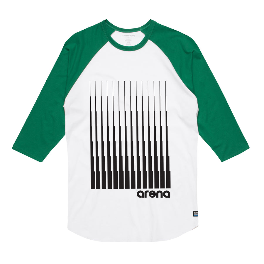 Arena Music | Denali - White and Green Men's Raglan Tee Shirt