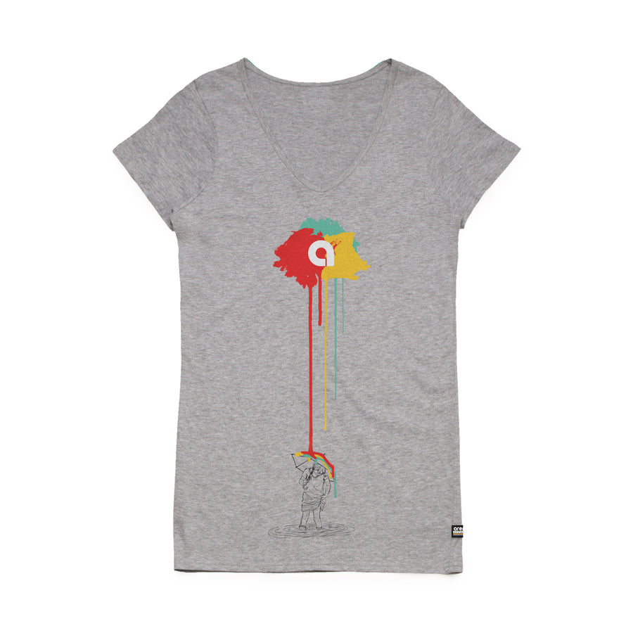 Arena Reigns Heather Grey Women's V-Neck Tee Shirt