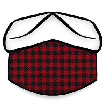 Red Flannel - Unisex Cloth Reusable Face Mask, Face Cover, Festival Cover | Arena