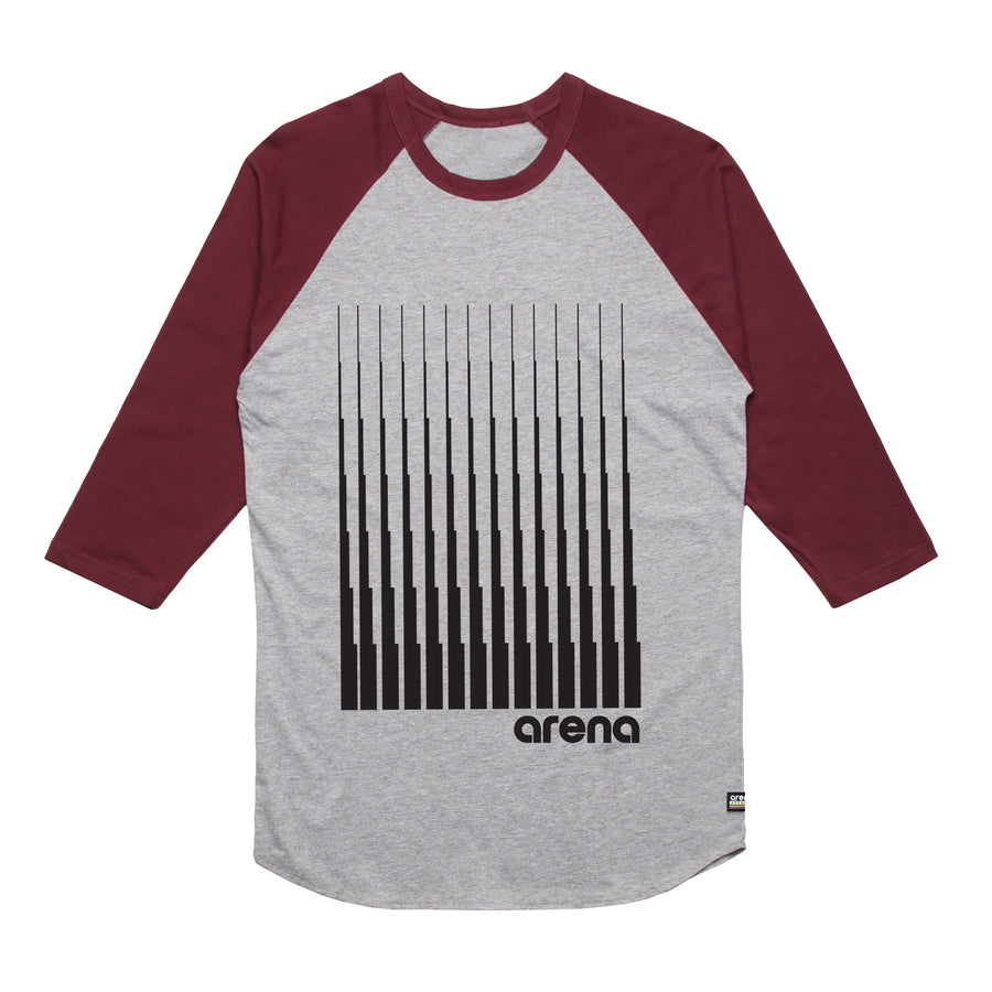 Arena Music | Denali - Heather Grey and Burgundy Men's Raglan Tee Shirt