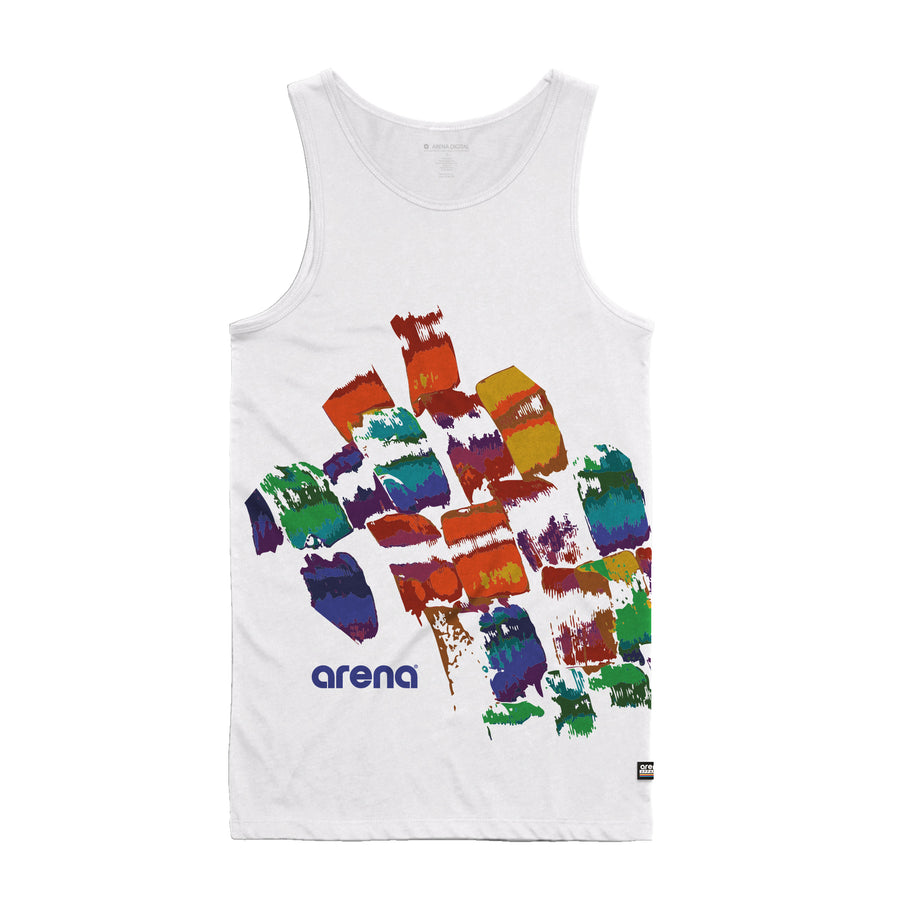 Arena Brush Strokes White Men's Tank Top