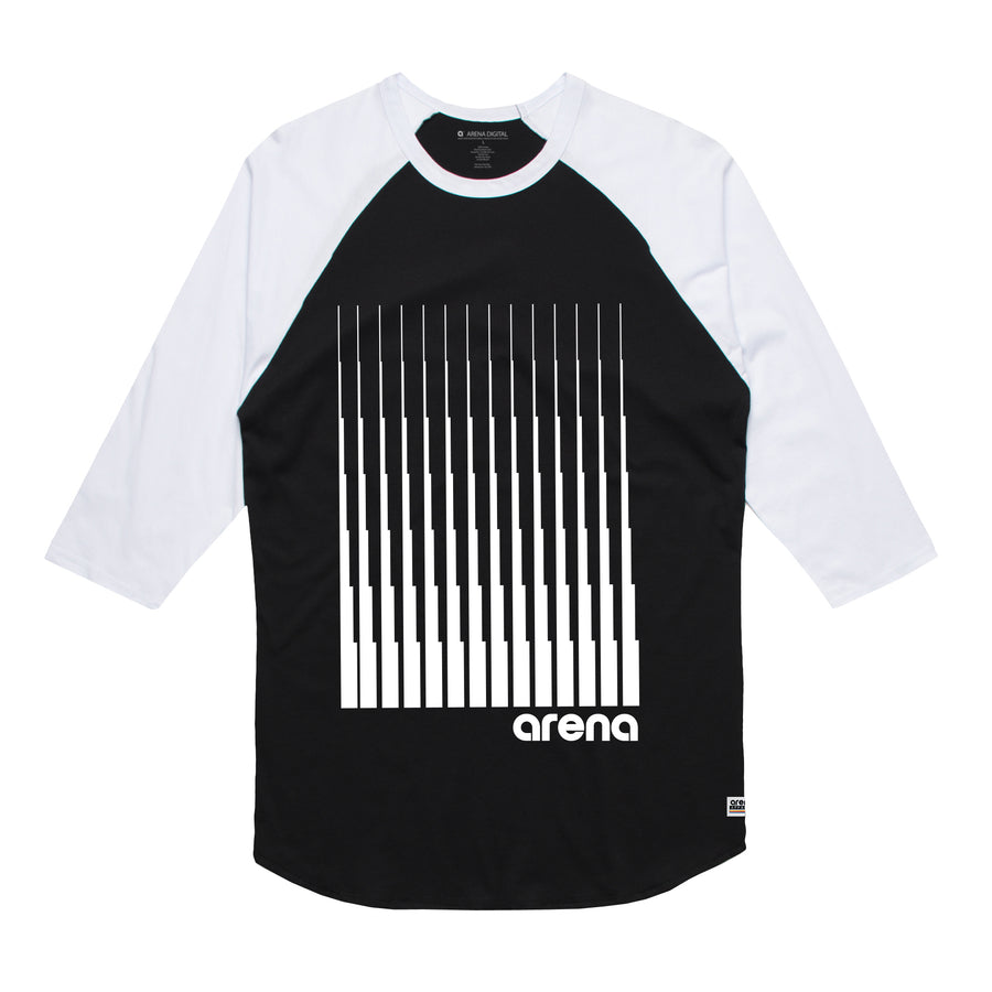 Arena Music | Denali - Black and White Men's Raglan Tee Shirt
