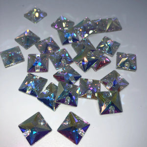 Square 3240 Sew on Rhinestones (10 pcs) - Flawless Crystals
