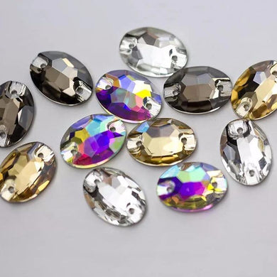 Oval Sew on Rhinestones - 3210 (10 pcs) - Flawless Crystals