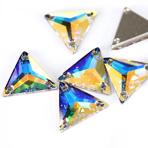 Triangle Sew on Rhinestones - 3270 (10 pcs) - Flawless Crystals