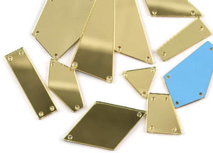 Quadrilateral Sew on Mirrors (7x11x22mm) - Flawless Crystals