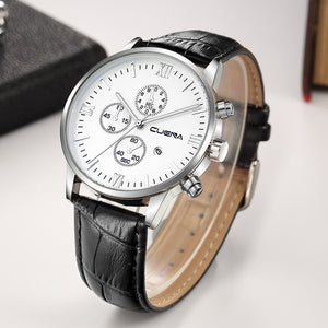Men Casual Checkers Leather Analog Wrist Watch - wearevel